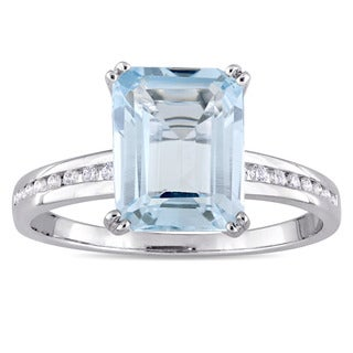 Miadora Signature Collection 18k White Gold Blue Topaz and 1/10ct TDW Diamond Engagement Ring (G-H, SI1-SI2)