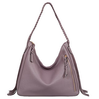 Mellow World Clarabelle Lavender Faux Leather Fringe Hobo Bag