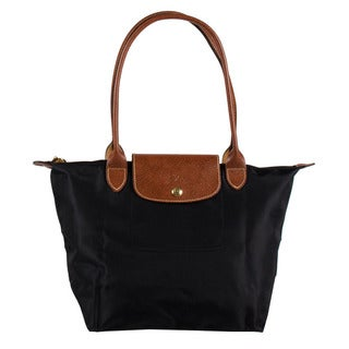 Longchamp Le Pliage Medium Black Nylon and Leather Tote Bag