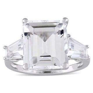 Miadora Sterling Silver White Topaz Three-Stone Engagement Ring