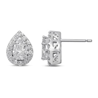 Unending Love 14k White Gold 1ct TDW Pear-cut Fashion Diamond Earrings (H-I, I1-I2)