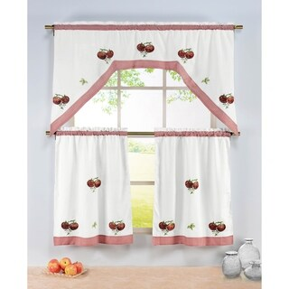 Window Elements Multicolored Embroidered 72' Kitchen Tier/Valance Set w/ Gingham Border