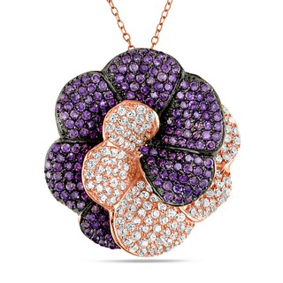 Catherine Catherine Malandrino Purple and White Cubic Zirconia Interlaced Flower Necklace in Rose Plated Sterling Silver