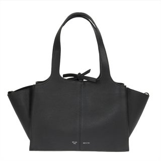 Celine Tri-Fold Medium Black Grained Leather Shoulder Bag