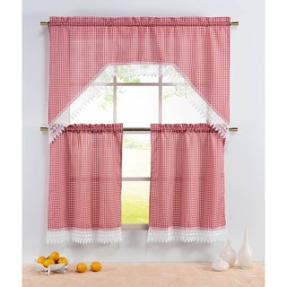 Window Elements Gingham 72-inch Kitchen Tier and Valance Set (Set of 3)
