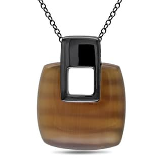 Catherine Catherine Malandrino Square-Cut Simulated Coffee Cat-Eye Dangle Necklace in Black Rhodium Plated Sterling Silver