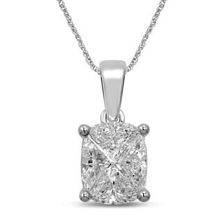 Unending Love 14k White Gold 1ct TDW Invisible Cushion-cut Diamond Pendant (G-H, SI3)