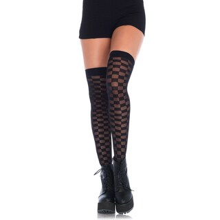 Leg Avenue Women's Black Polyester and Spandex Sheer and Opaque Checkerboard Thigh-high Stockings