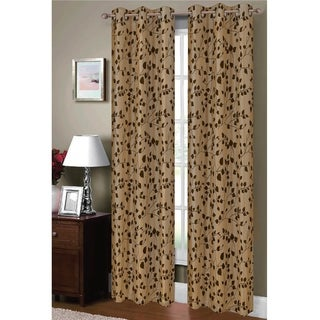 Window Elements Meadow Flocked Faux Silk 84-inch Grommet Curtain Panel Pair - 76 x 84