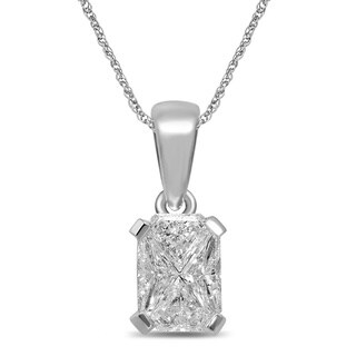 Unending Love 14k White Gold 1/3ct TDW Emerald-cut Diamond Pendant (G-H, SI3)