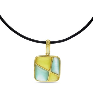 Catherine Catherine Malandrino Simulated Green & Yellow Cat Eye Pendant in Yellow Plated Sterling Silver on Black Leather Cord