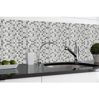 Achim Magic Gel Silver Glass Vinyl 9.125 x 9.125-inch Self-adhesive 1 Tile/ 0.75 sq. ft. Wall Tile