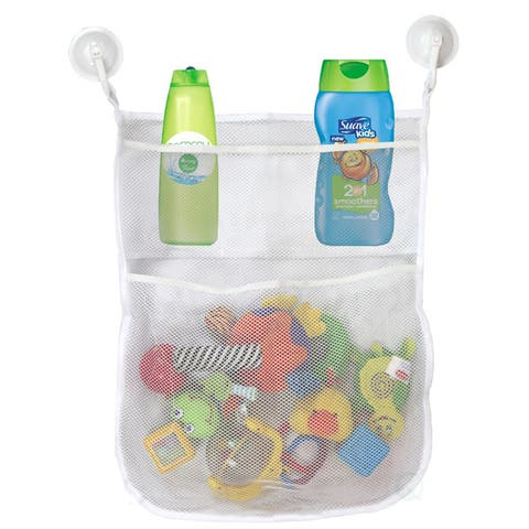 Basicwise 4-Section 2 Hook Suction Cups Bath Toy Organizer - White