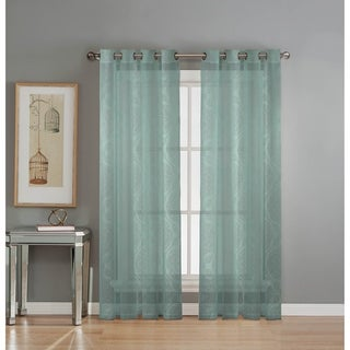 Window Elements Diamante Cotton-blend 84-inch Burnout Sheer Grommet Curtain Panel Pair - 76 x 84