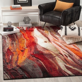 Safavieh Glacier Contemporary Abstract Red/ Multi Area Rug (4' x 6')