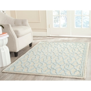 Martha Stewart by Safavieh Handmade Ivory / Blue Wool Area Rug (4' x 6')