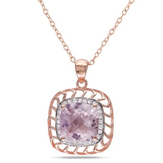 Catherine Catherine Malandrino Rose de France 1/7ct TDW Diamond Halo Necklace in Rose Plated Sterling Silver (G-H,I2-I3)