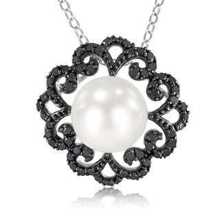 Catherine Catherine Malandrino Pearl and 2/5ct TDW Black Diamond Flower Necklace in Sterling Silver W/Black Rhodium (9-9.5mm)