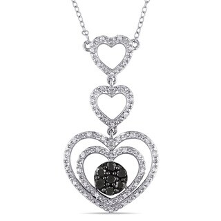 Catherine Catherine Malandrino 1/2ct TDW Black and White Diamond Tiered Hearts Necklace in Sterling Silver (G-H, I2- I3)