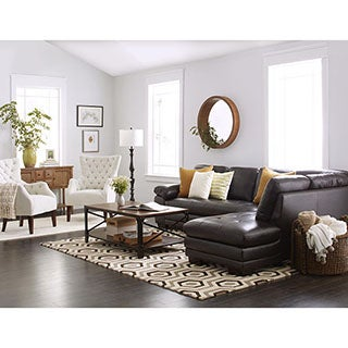 Abbyson Living Devonshire Brown Leather Tufted Sectional Sofa