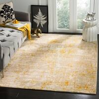 "Safavieh Porcello Modern Abstract Grey/ Yellow Area Rug - 4'1"" x 6'"