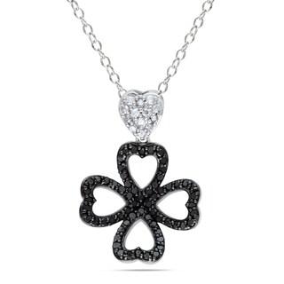 Catherine Catherine Malandrino 1/2ct TDW Black & White Diamond Clover Necklace in Sterling Silver with Black Rhodium (G-H,I2-I3)