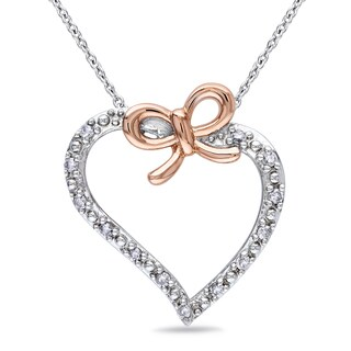 Catherine Catherine Malandrino 1/8ct TDW Diamond Open Heart Bow Necklace in 2-Tone White and Rose Sterling Silver (G-H,I2-I3)