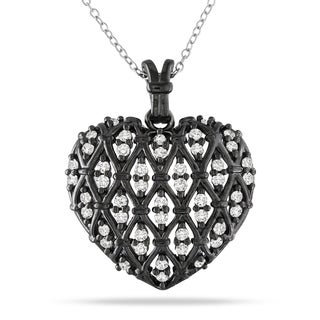 Catherine Catherine Malandrino 1ct TDW Diamond Crisscross Heart Necklace in Sterling Silver with Black Rhodium (I-J, I2-I3)