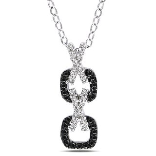 Catherine Catherine Malandrino 1/5ct TDW Black & White Diamond 'XOXO' Necklace in Sterling Silver W/ Black Rhodium (G-H,I2-I3)