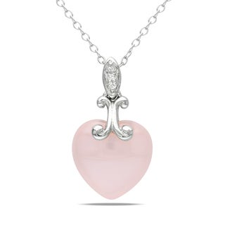 Catherine Catherine Malandrino Pink Chalcedony and Diamond Heart 'X' Accent Dangle Necklace in Sterling Silver