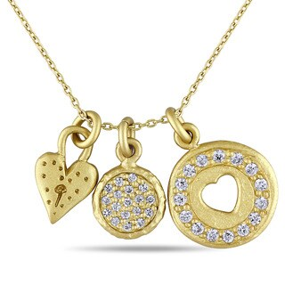 Catherine Catherine Malandrino Cubic Zirconia Double Heart Three Charm Necklace in Yellow Plated Sterling Silver