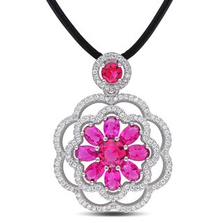 Catherine Catherine Malandrino Red and White Cubic Zirconia Flower Halo Necklace in Sterling Silver on Black Leather Cord