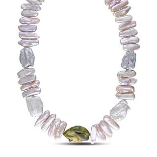 Catherine Catherine Malandrino Multicolor Freshwater Coin Baroque Cultured Pearl Strand with Sterling Silver Clasp (17-18 mm)|https://ak1.ostkcdn.com/images/products/14193213/P20789492.jpg?_ostk_perf_=percv&impolicy=medium