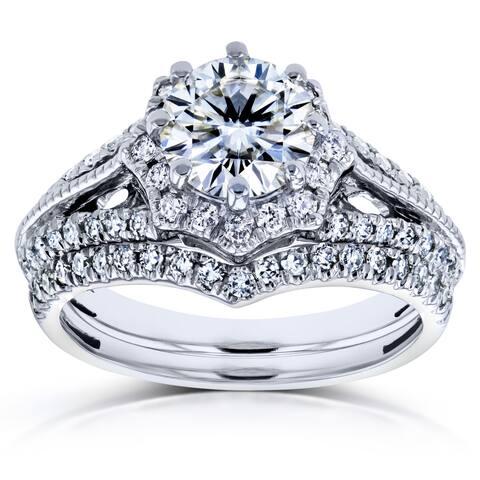Annello by Kobelli 14k White Gold 1 1/2ct TGW Moissanite and Diamond Star Halo 2-Ring Bridal Set (H-I, I1-I2)