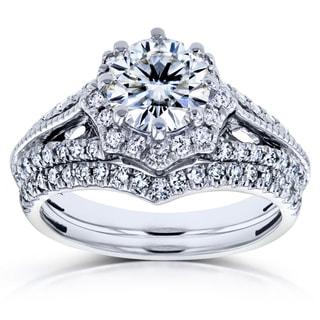 Annello by Kobelli 14k White Gold 1 1/2ct TCW Moissanite and Diamond Star Halo 2-Ring Bridal Set (H-I, I1-I2)