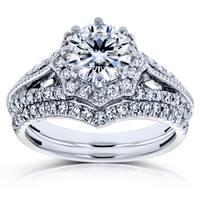 Annello by Kobelli 14k White Gold 1 1/2ct TGW Moissanite (HI) and Diamond Star Halo 2-Ring Bridal Set (H-I, I1-I2)