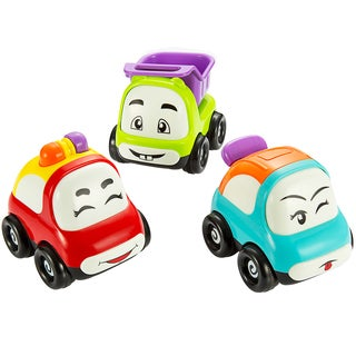 Pictek Mini Cartoon Push and Go Friction Powered Toddlers Toy Cars (Set of 3)
