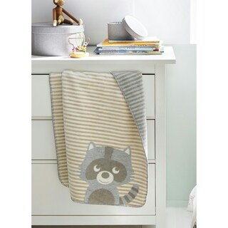 Cuddly Raccoon White, Tan, and Grey Cotton Baby Blanket