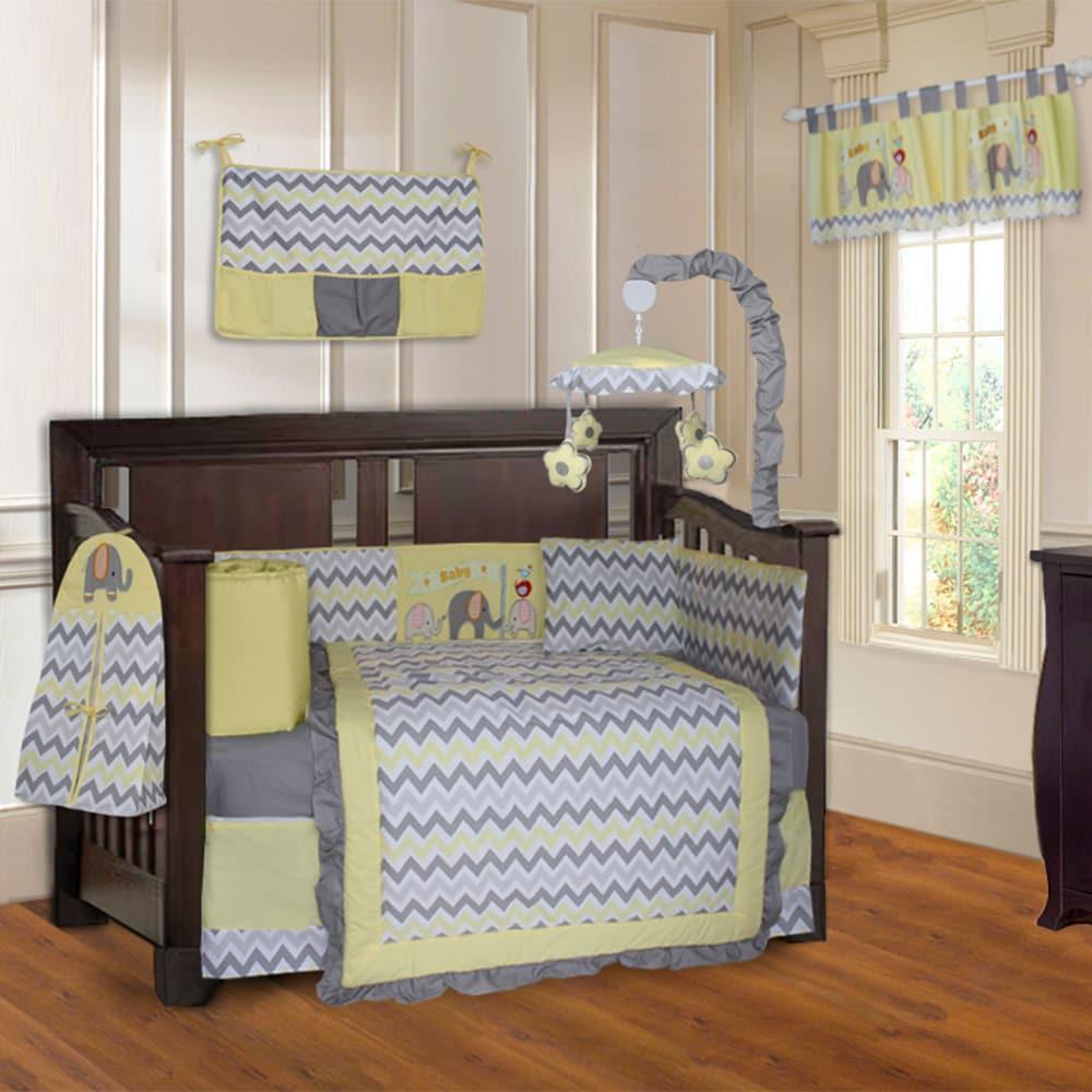 BabyFad Elephant ZigZag Yellow 10-piece Crib Bedding Set ...