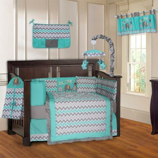 BabyFad Elephant Zig-Zag Turquoise and Grey 10-Piece Baby Crib Bedding Set