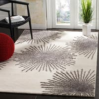 "Safavieh SoHo Hand-Woven Wool Ivory / Silver Area Rug - 3'6"" x 5'6"""