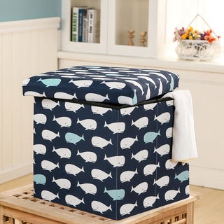 Lush Decor Whale Fabric Covered Collapsible Ottoman Set