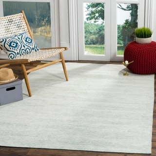 Safavieh Stone Wash Contemporary Hand-Knotted Light Blue Wool Rug (4' x 6')