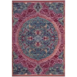 Safavieh Sutton Nilgul Boho Oriental Polyester Rug (4 x 6 - Turquoise/Fuchsia)