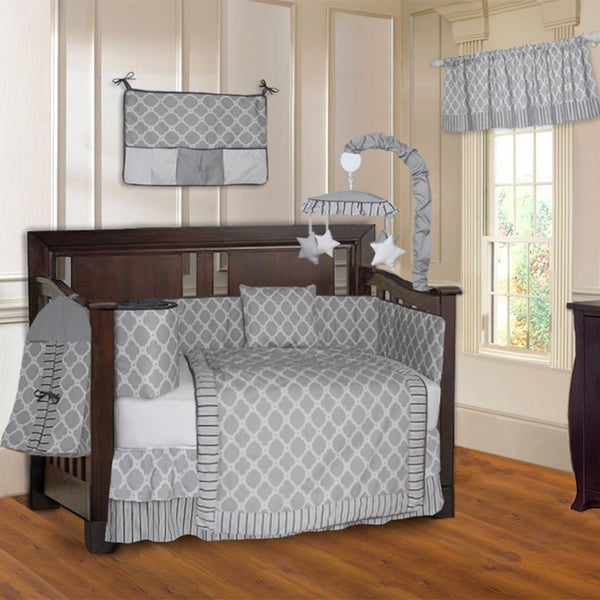 BabyFad Quatrefoil Clover Grey 10-piece Crib Bedding Set