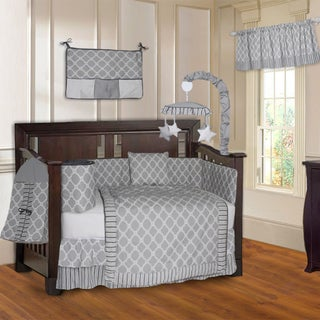 BabyFad Quatrefoil Clover Grey 10-piece Crib Bedding Set