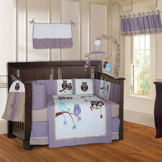 BabyFad Owl Purple 10-piece Crib Bedding Set