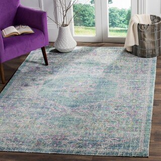 Safavieh Windsor Spa / Fuchsia Distressed Silky Polyester Area Rug (4' x 6')