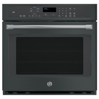 GE Cafe Series Built-in Single Convection Black Wall Oven