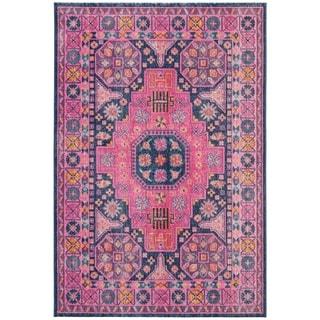 Safavieh Artisan Vintage Blue / Fuchsia Cotton Rug (5' 1 x 7' 6)